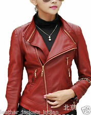 New Ladies Red Leather jacket biker rider jacket long sleeves sexy jacket LJK10
