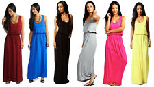 Womens Plain Puffball Racer Back Long Jersey Casual Toga Balloon Maxi Dress 8-22