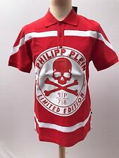 """PHILIPP PLEIN POLO SHIRT """"LIMITED EDITION"""", RRP £495, RED, SIZE LARGE"""