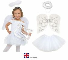 Kids NAVITY ANGEL Fairy Wings Halo Fancy Dress Costume Christmas Party WHITE UK