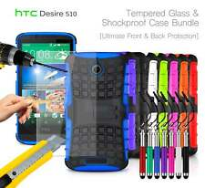 HTC Desire 510 - Shockproof Grip Case Cover, Ret Pen & Tempered GLASS