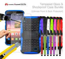 Huawei Ascend G620S Shockproof Armour Case Cover, Stylus & Tempered GLASS