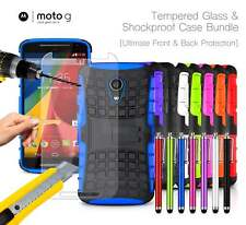 Motorola Moto G 2nd Gen Shockproof Armour Case Cover, Stylus & Tempered GLASS