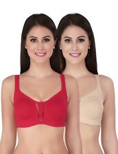 SOIE Women's Non-Padded Non-Wired Cotton Bra Pack of 2 (COMBO CB-317BEIGE & RED)