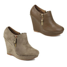 WOMENS LADIES HIGH WEDGE HEEL PLATFORM LOW ANKLE BOOTS BOOTIES SHOES SIZE 3-8
