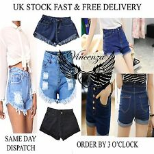 Vincenza Ladies Vintage Womens High Waisted Denim BeachShorts Jeans Hot Pants UK
