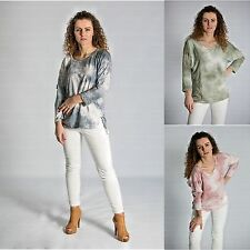 Italian Long Sleeve Blouse Top Lace Shirt Tunic Ladies Lagenlook size 10-14
