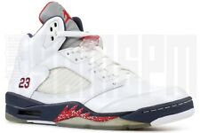 2011 Nike AIR JORDAN 5 RETRO OLYMPIC 10 11 WHITE RED NAVY BLUE PATENT USA aj5
