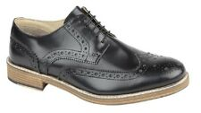 Roamers M891 Brouge Leather Gibson 5 Eyelet Wing Capped Shoes Black Hi-Shine Lea