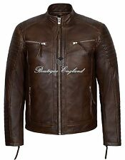 Mens New 2565 WOOD Stitch Diamond Quilted Real Napa Soft Leather Jacket