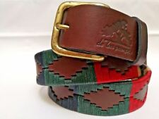 """""""Palermo"""" 100% Argentine Embroidered Leather Polo Belt with Waxed Threads -Brown"""