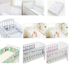 Breathable Baby Airflow Mesh Liner Bumper / Sheet 2 SIDED (SOLID END) COT/COTBED