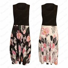 New Ladies Chiffon Floral Pleated Skirt Dress Women's Plus Size Sleevelees Dress