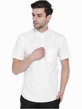 Hancock Men's White Solid Pure Cotton Slim Fit Casual Shirt (43424White)