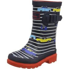 Joules Printed Welly Stripe Cars Blu Marino Gomma Junior Wellingtons Stivali