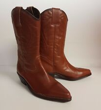 Womens Leather Ranch House Patterned Cowboy Western Boots Brown
