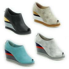 WOMENS LADIES PLATFORM WEDGE HEEL PEEP TOE LOW ANKLE SANDALS SHOES SIZE 3-8