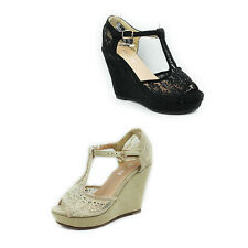 WOMENS LADIES CASUAL PLATFORM WEDGE HEEL T-BAR PEEP TOE SANDALS SHOES SIZE 3-8