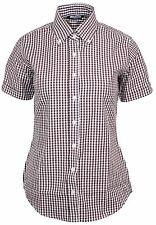 Relco Womens Burgundy Gingham Short Sleeve Button Down Collar Shirt