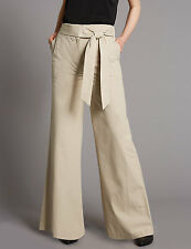 Marks and Spencer Pure Cotton Tie Detail Wide Leg Trousers