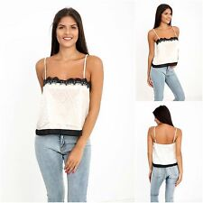 New Womens Casual Lace Strappy Cami Floral Top Straps Vest Blouse UK Sizes 6-14