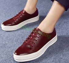 Mens British Flat Lace Up Leather Comfort Fashion Creeper Sneakers Leisure Shoes