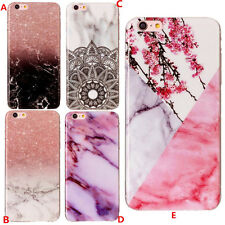 For Apple iPhone 5 6 7 Plus 8 iPod 5 Marble Texture Soft Rubber Phone Cover Case