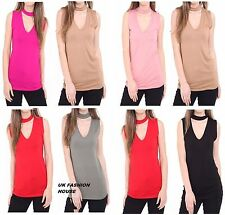 New Womens Choker V Neck Collar Cut Out Plunge Sleeveless Blouse Shirt Vest Top