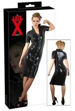 Abito in lattice nero con zip a due vie Latex Sexy shop Fetish uomo donna erotic