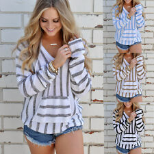 Women's Casual Loose Kintted Pullover Sweater Outwear Hooded  Pocket Coat