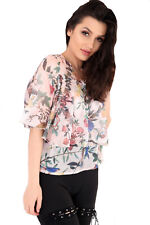 Womens Ladies Floral Print Short Sleeve Ladies Casual Layered Top Blouse Shirt