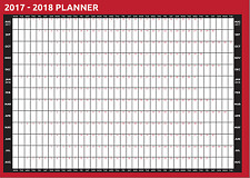 2018 to 2019 A2 Size Academic Mid Year Wall Planner Calendar AUG to AUG