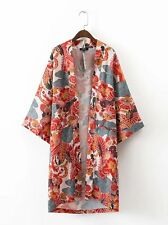 New Womens Ladies Chinese Japanese Oriental Floral Kimono Phenix Long Top ltop12