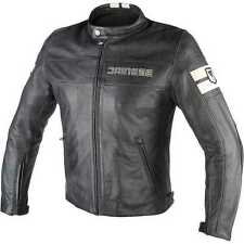 Giacca moto pelle Dainese Hf D1 nero ghiaccio vintage scrambler cafe racer