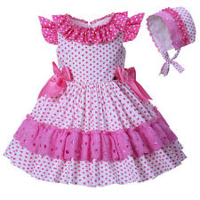 Baby Toddler Girls Polka Dot Dress with Bonnet Spanish Style Party Wedding Party
