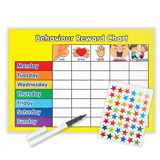 BEHAVIOUR REWARD TRAINING REWARD CHART WITH PEN & STAR STICKERS - Y