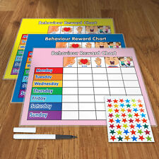 BEHAVIOUR REWARD TRAINING REWARD CHART WITH PEN & STAR STICKERS