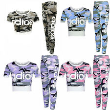 NEW KIDS GIRLS ADIOS CAMOUFLAGE MILITARY ARMY CROP TOP & LEGGING SET AGE 7-13