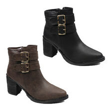 NEW WOMENS LADIES CHELSEA STYLE MID HIGH CHUNKY HEEL ANKLE BOOTS SHOES SIZE 3-8