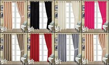 Ready Made Fully Lined Premium Quality Ring Top Eyelet Faux Silk Curtains (Pair)