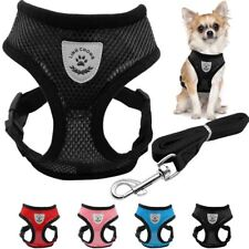 Breathable Mesh Small Dog Pet Harness and Leash Set Puppy Vest Pink Red Blue Bla