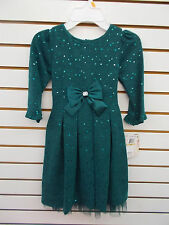 Girls Sweet Heart Rose Teal Long Sleeved Dress w/ Sequins Size 6X