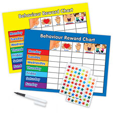 BEHAVIOUR REWARD TRAINING REWARD CHART WITH PEN & STAR STICKERS - Blue/Yellow