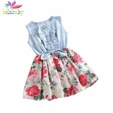 Baby Girl Dress Children Sleeveless Denim Floral Dresses With Button Kids Prince