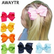 6-8cm 2Pcs/Lot Girls Hair Bows with Clips Infant Hairbows Ribbon Bow Hair Clip C