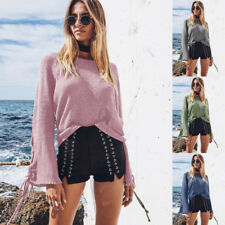 Pullover Sweater Long Sleeve Knitwear Bandage Lace Up Bell Autumn Women's