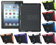 Hard Armor Defender Hybrid Rubber Back Case with Kick Stand for Apple iPad 2/3/4