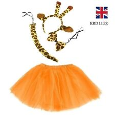 Kids GIRAFFE TUTU COSTUME Fancy Dress Halloween Tutu Ears Animal Accessory UK