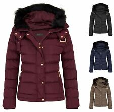 Womens Fur Hooded Jacket Quilted Winter Faux Warm Padded Shower Zip Outerwear