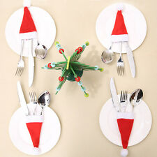 30pcs Christmas Caps Cutlery Holder Fork Spoon Pocket Bag Xmas Party Table Decor